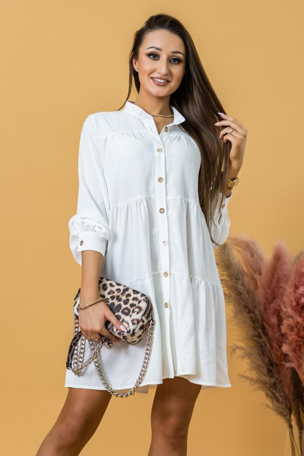 Biała sukienka koszulowa oversize z falbankami Antonella