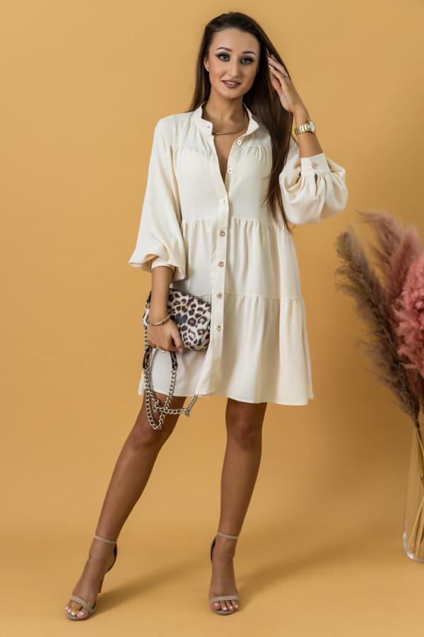 Ecru sukienka koszulowa oversize z falbankami Antonella