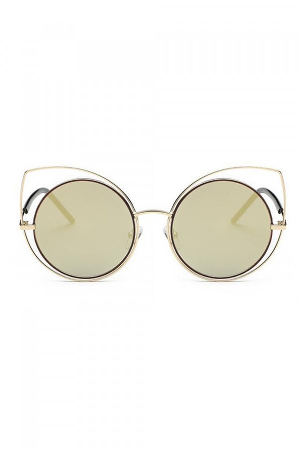 Złoto-zielone lustrzane okulary kocie oko Evie