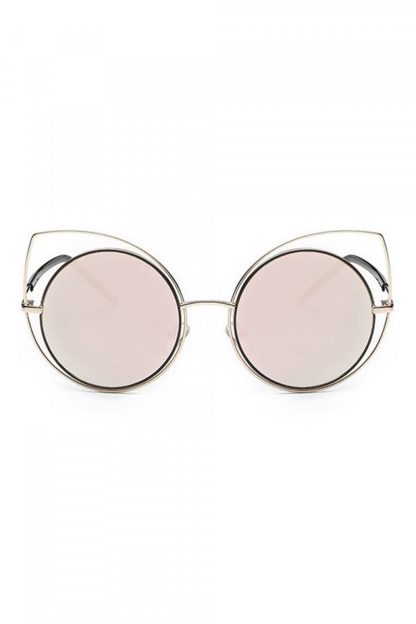 Różowe lustrzane okulary kocie oko Evie