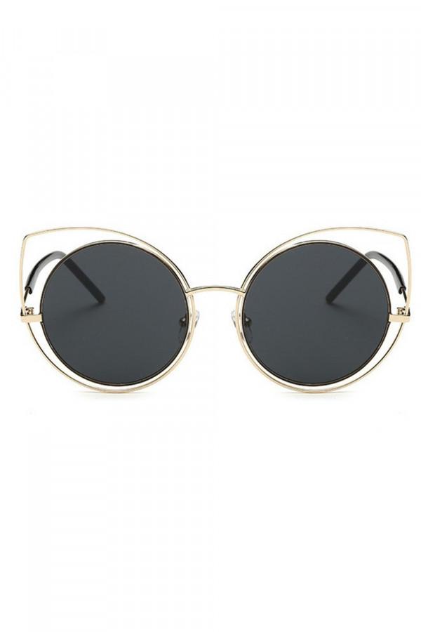 Czarne lustrzane okulary kocie oko Evie