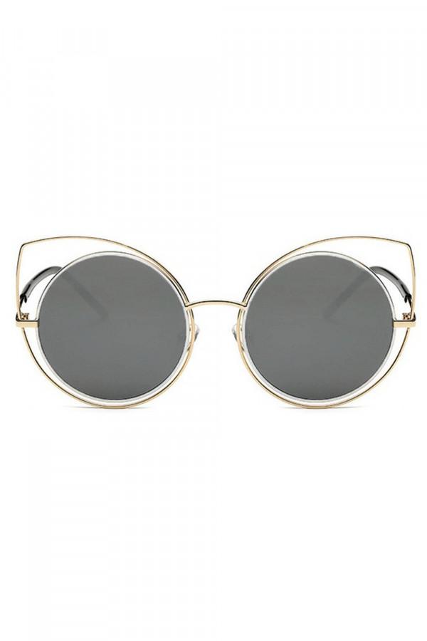 Grafitowe lustrzane okulary kocie oko Evie