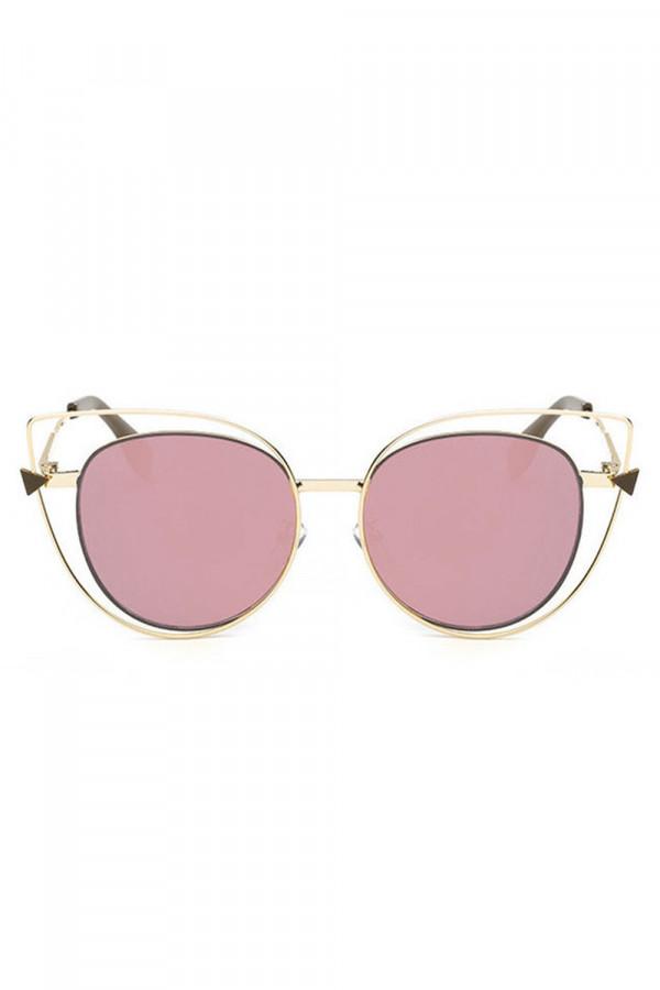 Różowe okulary przeciwsłoneczne lustrzane kocie oko Aurora