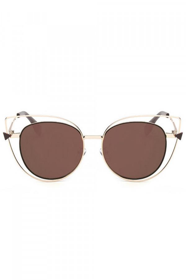 Brązowe okulary przeciwsłoneczne lustrzane kocie oko Aurora