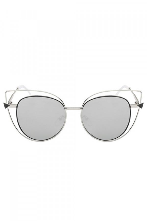 Szare okulary przeciwsłoneczne lustrzane kocie oko Aurora