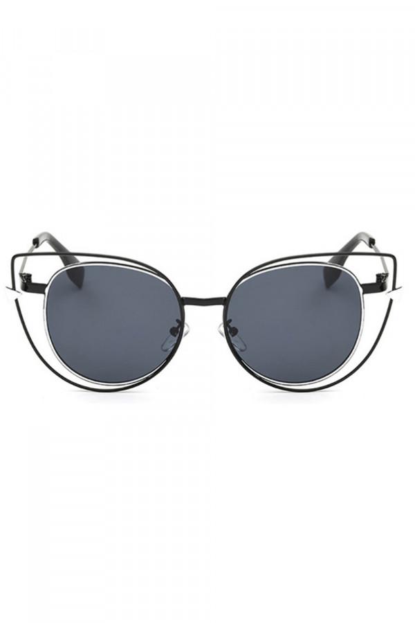 Czarne okulary przeciwsłoneczne lustrzane kocie oko Aurora