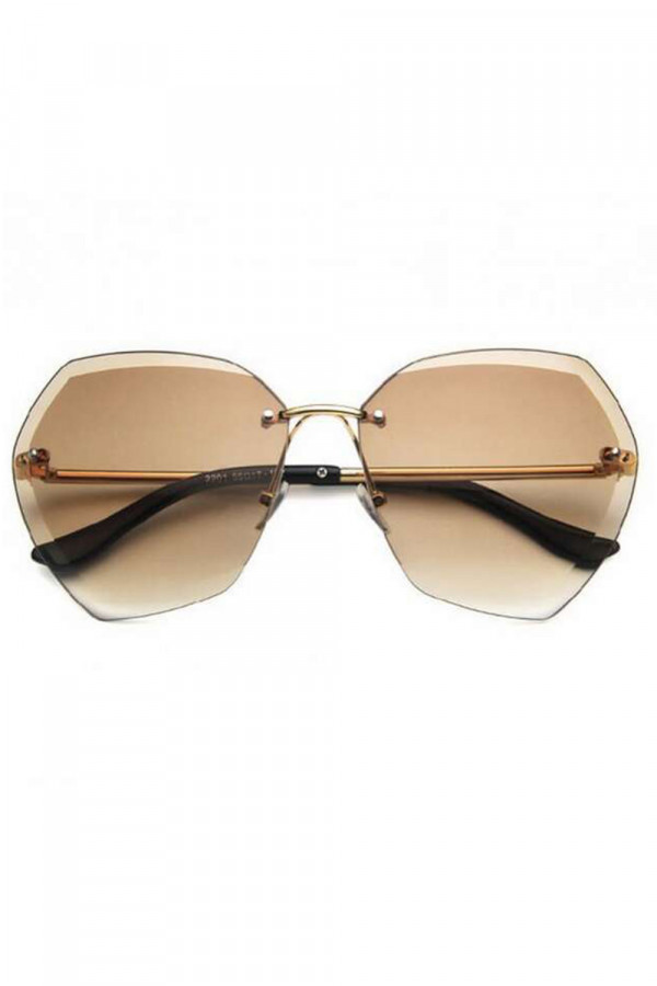 Brązowe okulary przeciwsłoneczne bez oprawek Wine