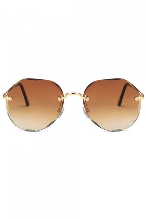 Brązowe okulary przeciwsłoneczne kryształki bez oprawek Shine