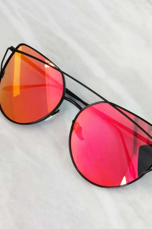 Fuksjowe lustrzane okulary przeciwsłoneczne nowoczesne aviatorki Selena