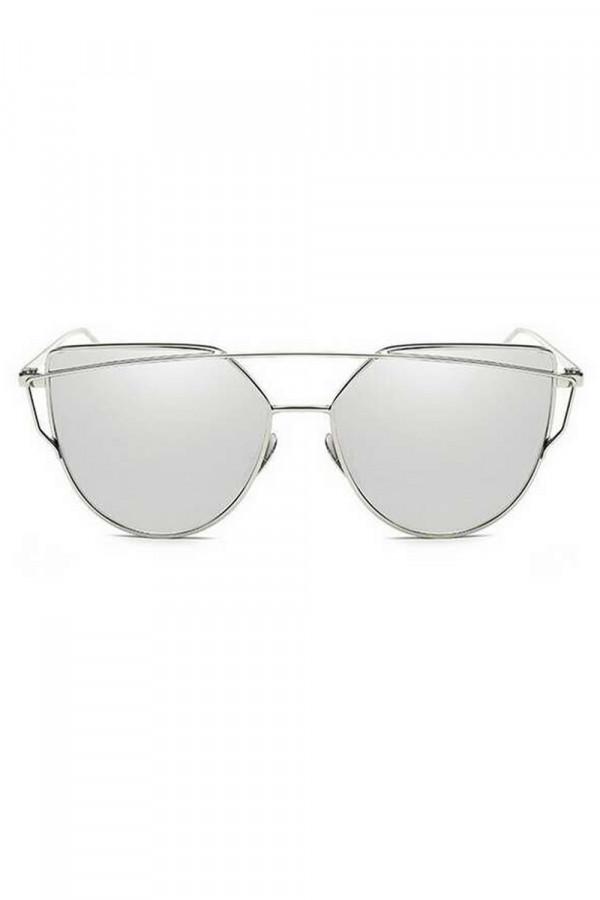 Srebrne lustrzane okulary przeciwsłoneczne nowoczesne aviatorki Selena