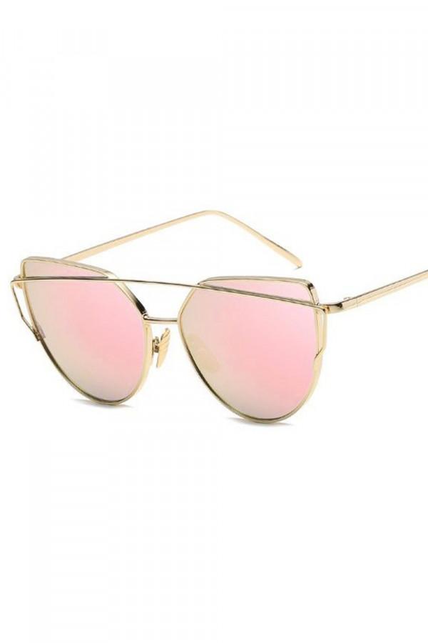 Złote lustrzane okulary przeciwsłoneczne nowoczesne aviatorki Selena