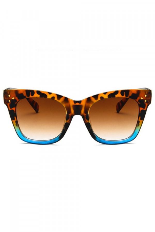 Panterkowo niebieskie okulary przeciwsłoneczne kocie oko Wild