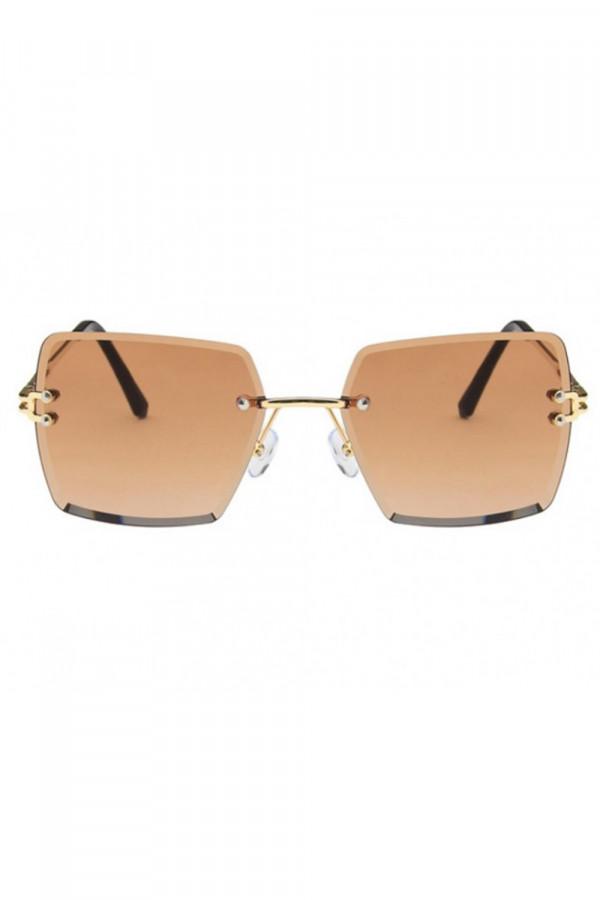Brązowe okulary przeciwsłoneczne bez oprawek prostokątne Sasha