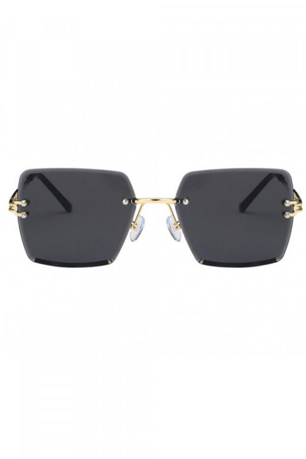 Czarne okulary przeciwsłoneczne bez oprawek prostokątne Sasha