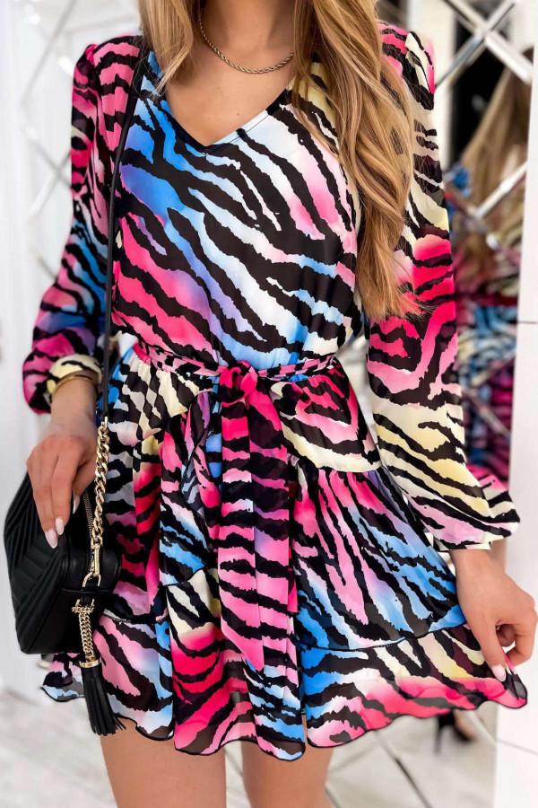 Kolorowa zeberkowa sukienka szyfonowa rozkloszowana Virgo