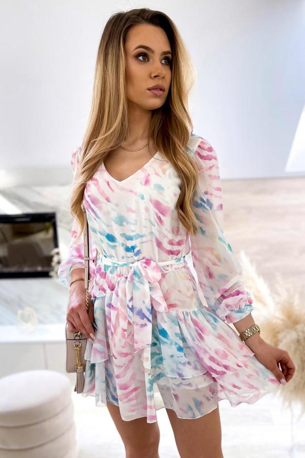 Różowo-niebieska pastelowa zeberkowa sukienka szyfonowa rozkloszowana Virgo