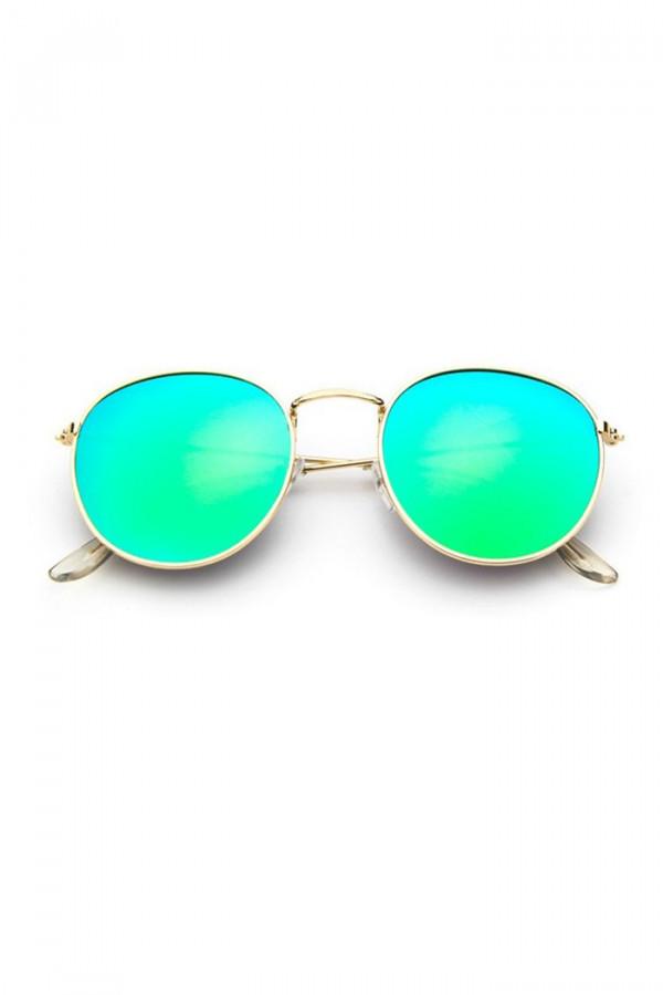 Turkusowo-zielone okulary przeciwsłoneczne okrągłe Summer