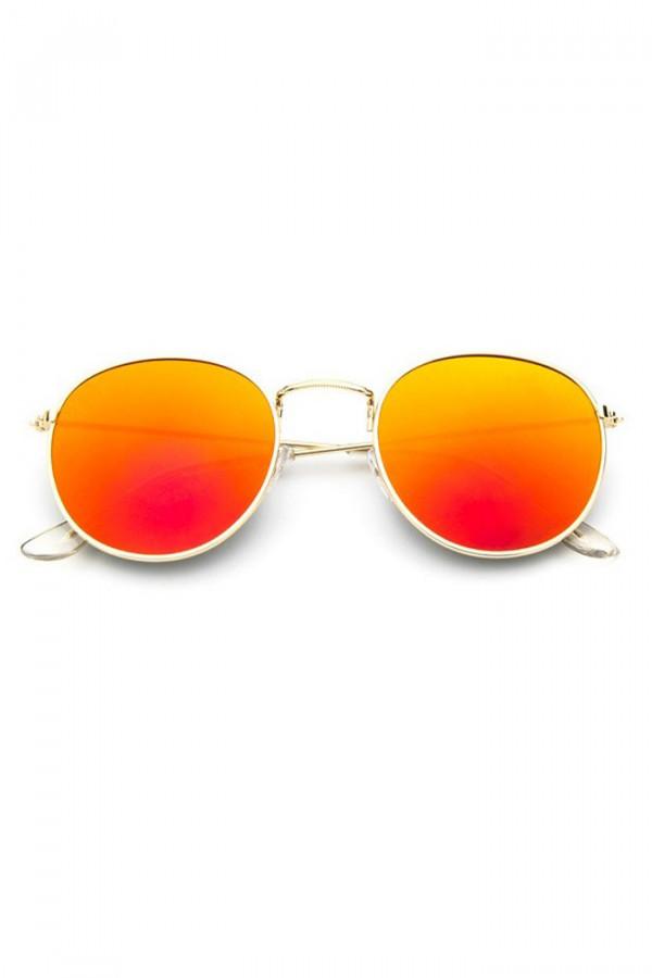 Pomarańczowo-czerwone okulary przeciwsłoneczne okrągłe Summer