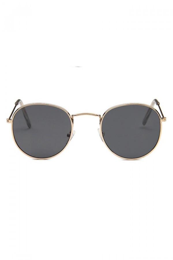 Czarne okulary przeciwsłoneczne z złotą oprawką okrągłe Summer