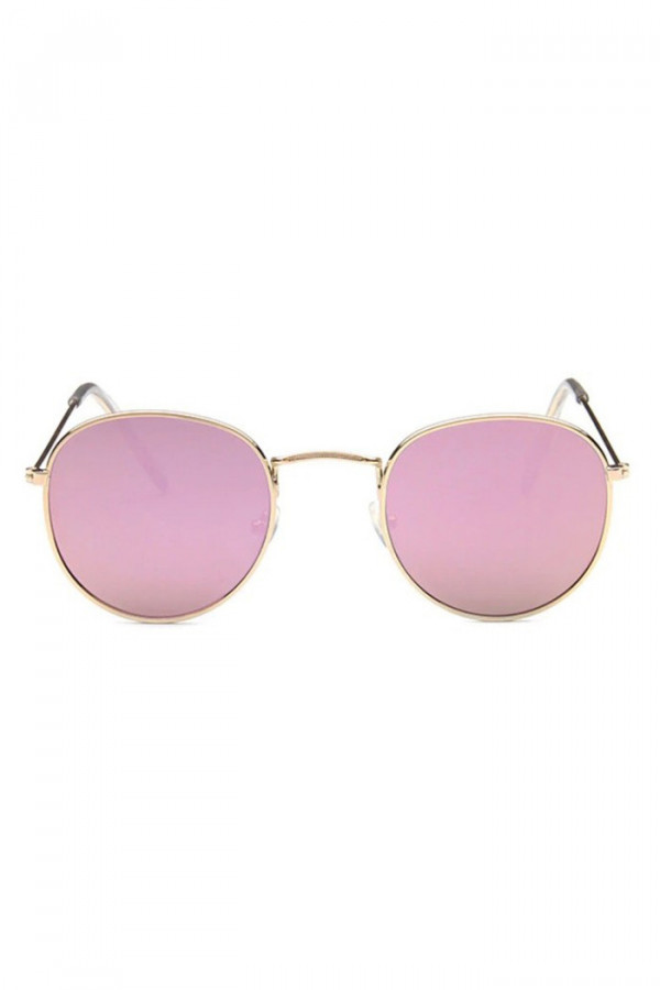 Różowe lustrzane okulary przeciwsłoneczne okrągłe Summer