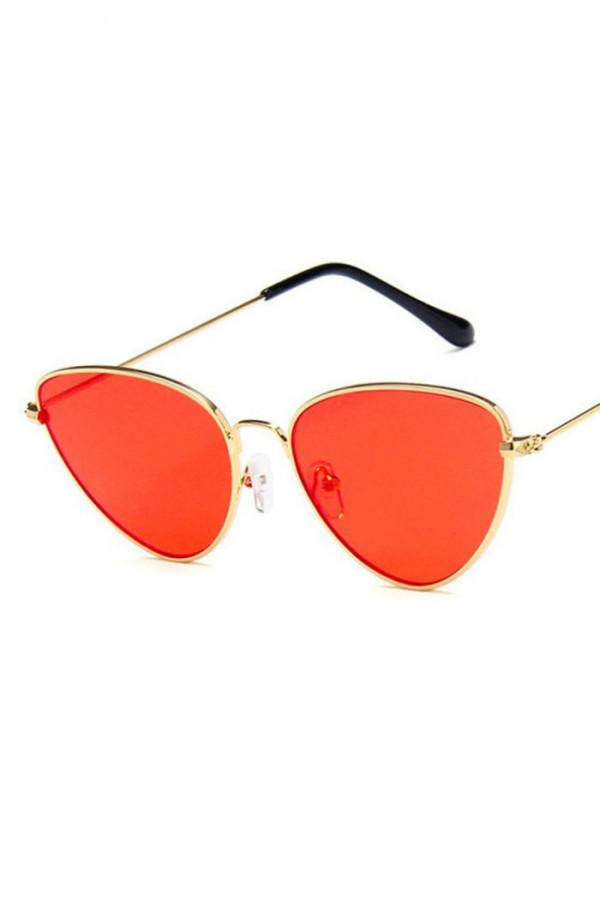 Pomarańczowe okulary przeciwsłoneczne z złotą oprawką kocie oko Leah