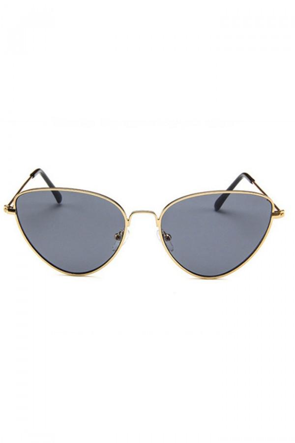 Czarne okulary przeciwsłoneczne z złotą oprawką kocie oko Leah