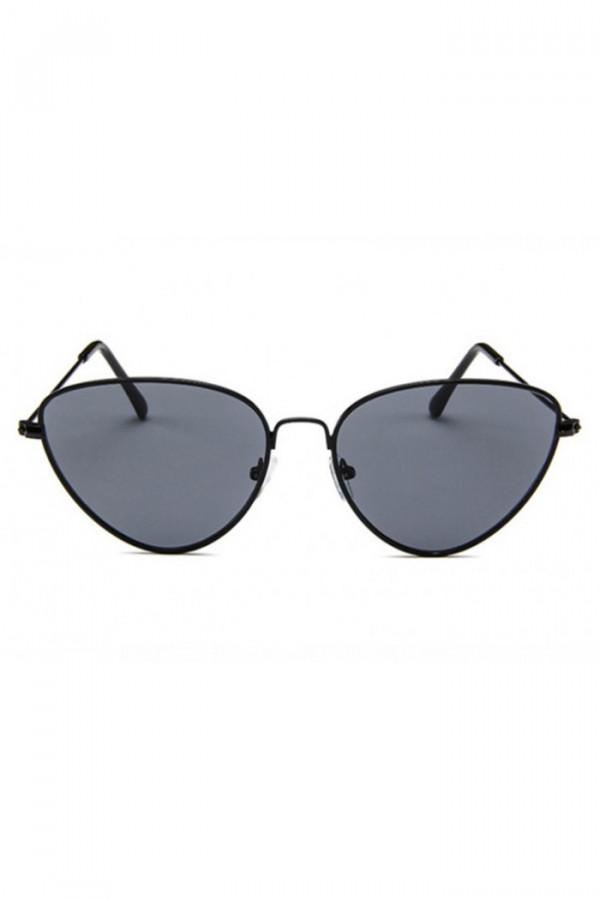 Czarne okulary przeciwsłoneczne z czarną oprawką kocie oko Leah