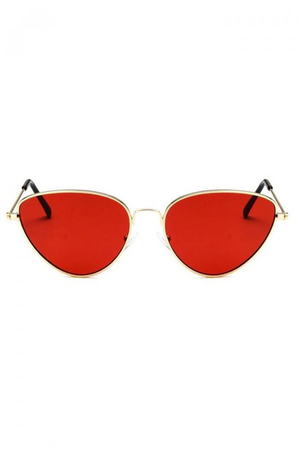 Czerwone okulary przeciwsłoneczne z złotą oprawką kocie oko Leah