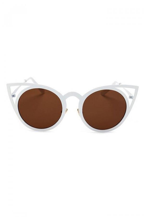 Brązowe okulary przeciwsłoneczne z białą oprawką kocie oko Sheins