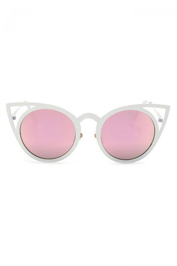 Różowe okulary przeciwsłoneczne z białą oprawką kocie oko Sheins
