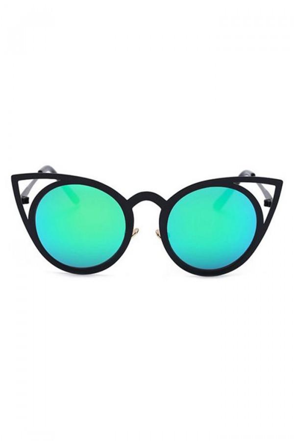 Turkusowe okulary przeciwsłoneczne z czarną oprawką kocie oko Sheins