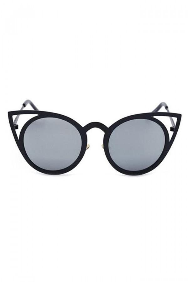 Czarne okulary przeciwsłoneczne z czarną oprawką kocie oko Sheins