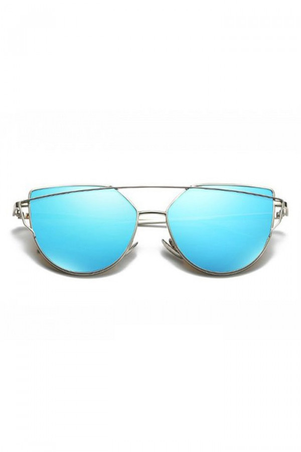 Niebieskie lustrzane okulary przeciwsłoneczne nowoczesne aviatorki Selena