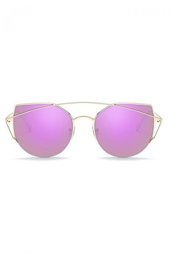 Fuksjowe lustrzane okulary przeciwsłoneczne aviatorki kocie oko Stars