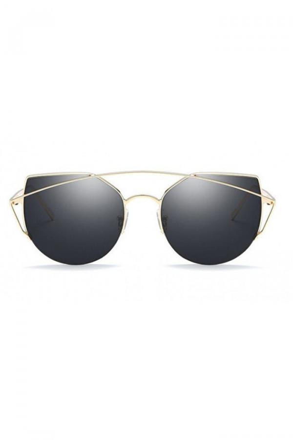 Czarne lustrzane okulary przeciwsłoneczne aviatorki kocie oko Stars