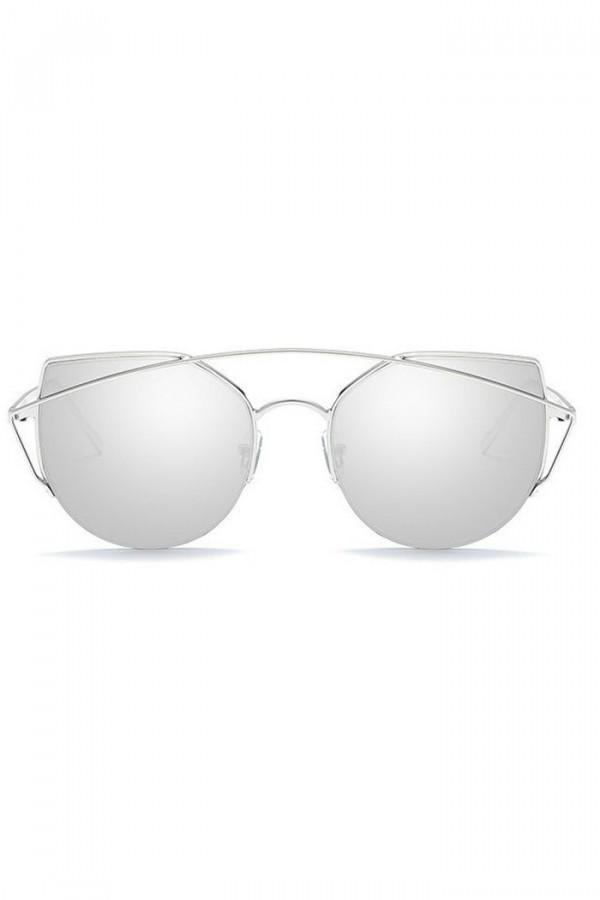 Srebrne lustrzane okulary przeciwsłoneczne aviatorki kocie oko Stars