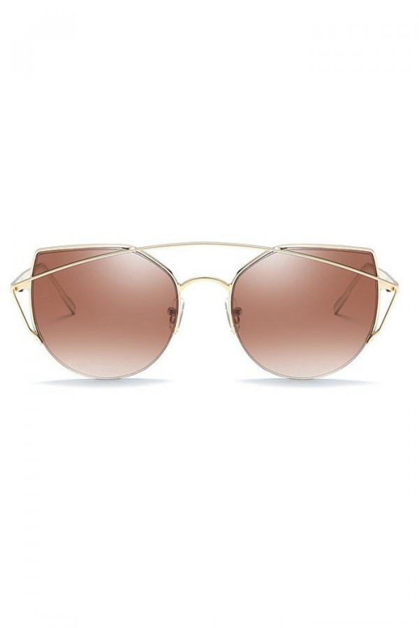 Brązowe lustrzane okulary przeciwsłoneczne aviatorki kocie oko Stars