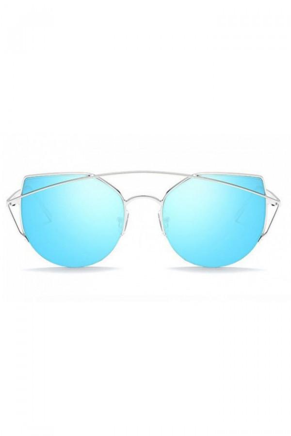 Niebieskie lustrzane okulary przeciwsłoneczne aviatorki kocie oko Stars