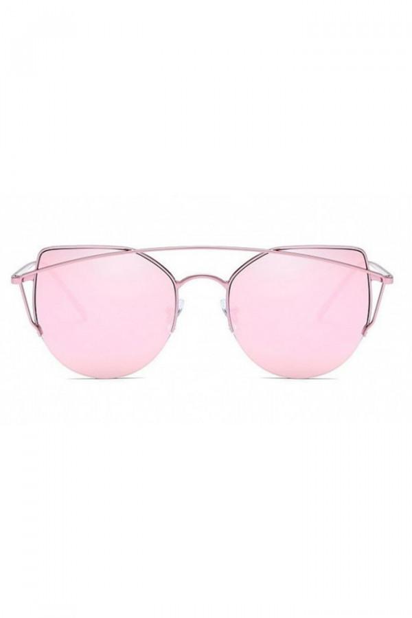 Różowe lustrzane okulary przeciwsłoneczne aviatorki kocie oko Stars