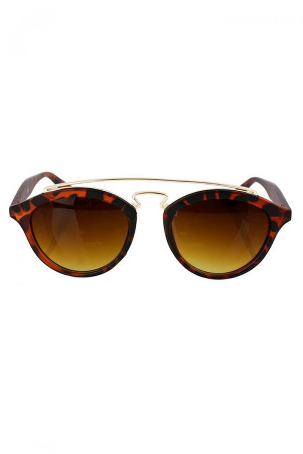 Brązowe panterkowe okulary przeciwsłoneczne z złotym elementem kocie oko Farona