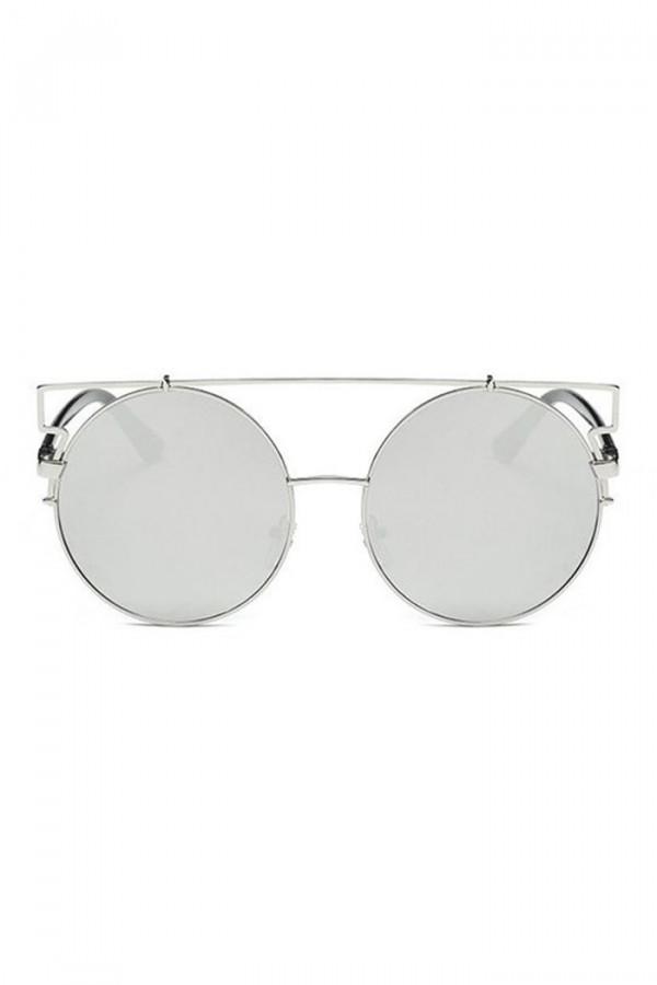 Srebrne lustrzane okulary przeciwsłoneczne kocie oko Mirror