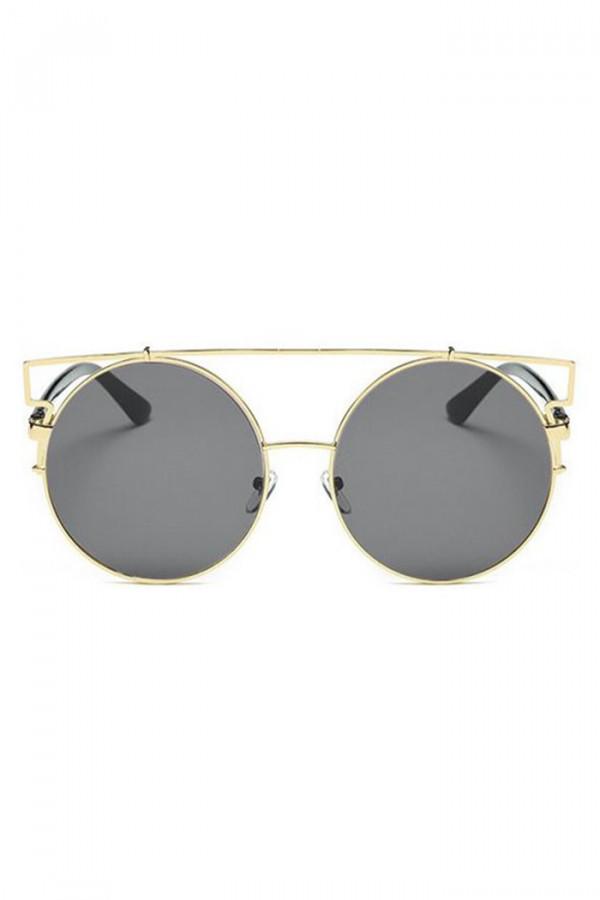 Czarne lustrzane okulary przeciwsłoneczne z złotą oprawką kocie oko Mirror