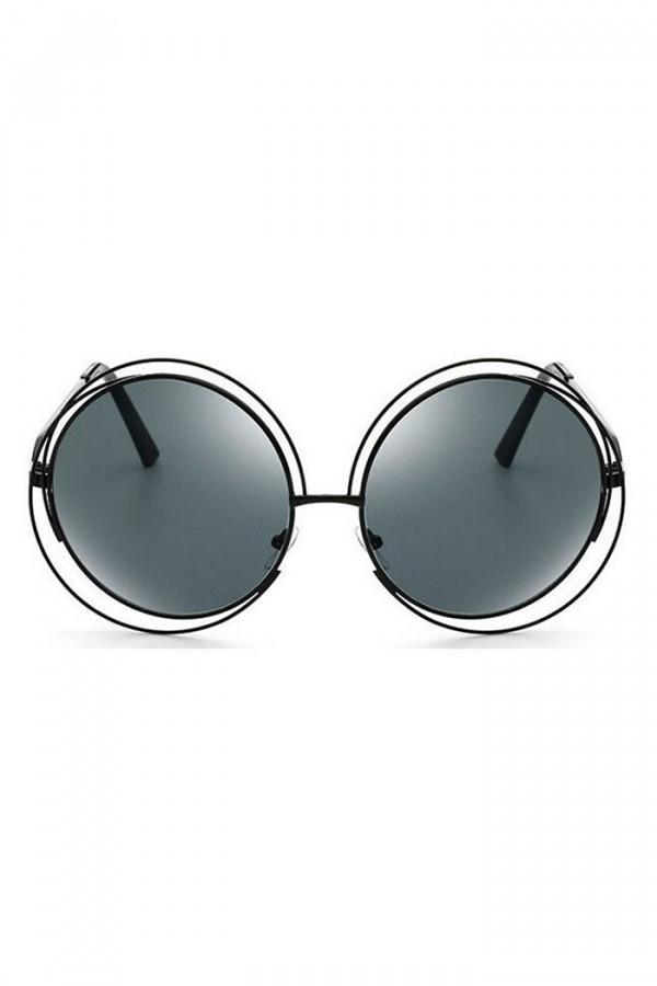 Czarne lustrzane okulary przeciwsłoneczne okrągłe Spring