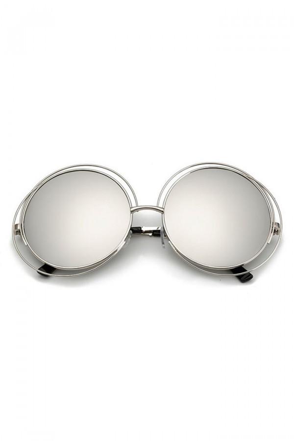 Srebrne lustrzane okulary przeciwsłoneczne okrągłe Spring