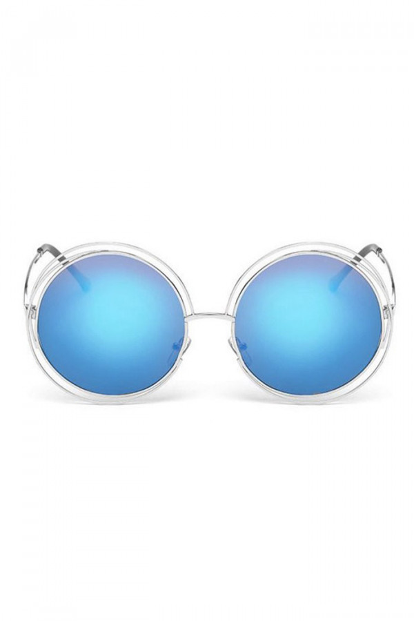 Niebieskie lustrzane okulary przeciwsłoneczne okrągłe Spring