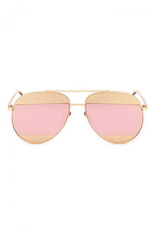Różowo-złote lustrzane okulary przeciwsłoneczne aviatorki Cheins