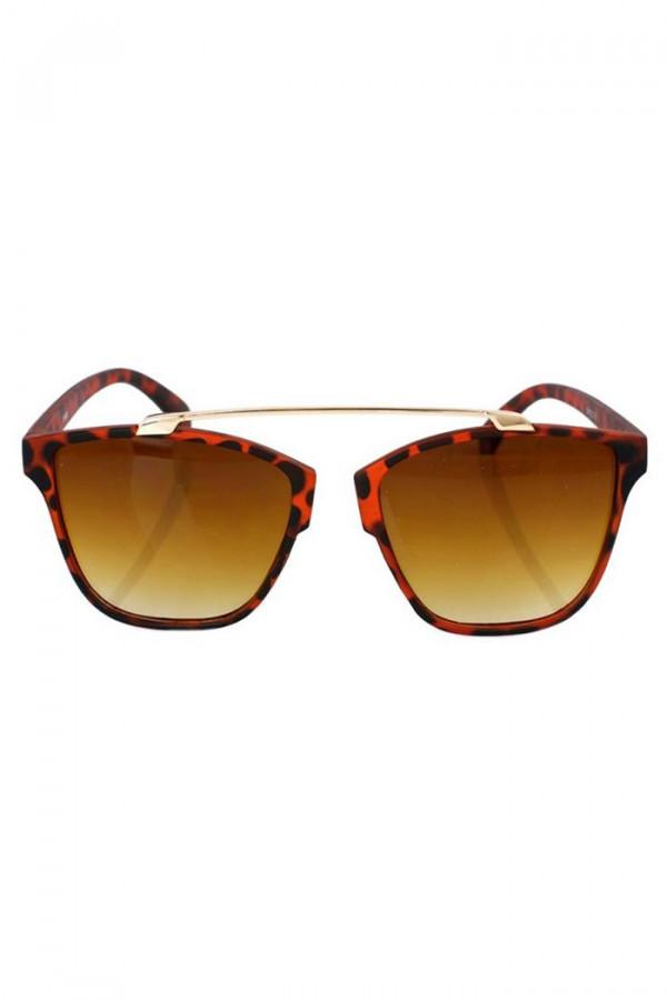 Brązowe panterkowe okulary przeciwsłoneczne kocie oko Cherry