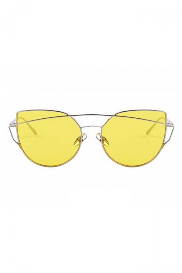 Żółte transparentne okulary przeciwsłoneczne nowoczesne aviatorki Selena