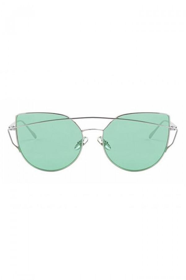 Miętowe transparentne okulary przeciwsłoneczne nowoczesne aviatorki Selena