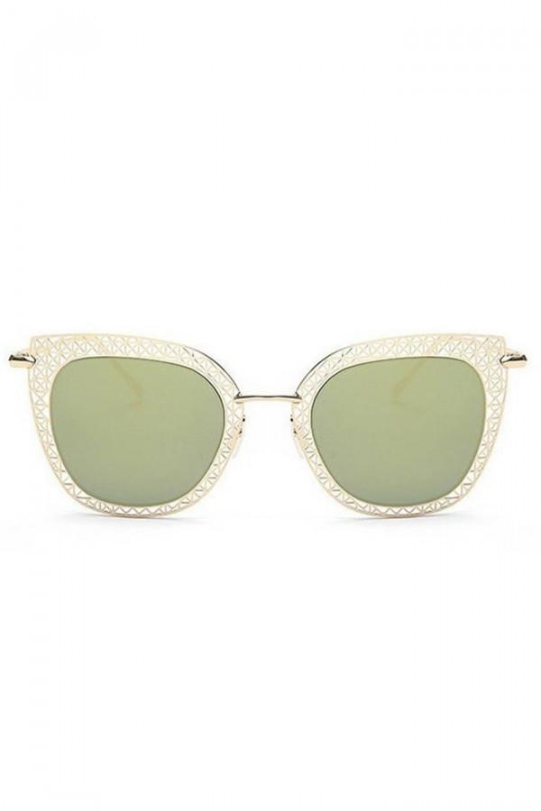 Zielono-złote okulary przeciwsłoneczne kocie oko Sirena